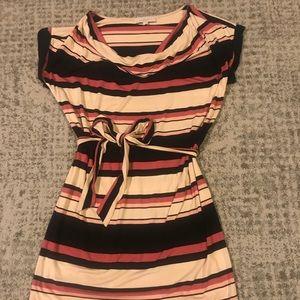 Loft cotton stripe dress with self tie at waist.